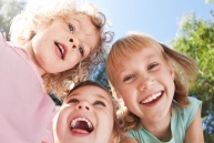 Happy children having fun in spring